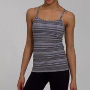 Lululemon Power Y Tank Coal Strata Stripe Size 4